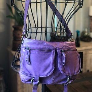 TANO purple leather purse medium bronze clasp zip